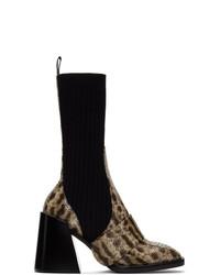 Chloé Beige Snake Bea Half Sock Boots