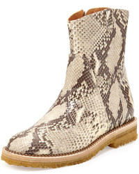 Python embossed ankle boot natural medium 627256