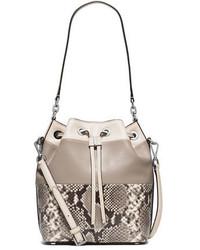 MICHAEL Michael Kors Michl Michl Kors Dottie Large Python Embossed Bucket Bag Natural