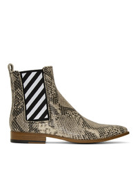 Off-White Python Chelsea Boots
