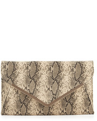 Neiman Marcus Faux Leather Snake Embossed Envelope Clutch Bag Beige