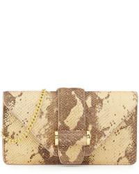 Ivanka Trump Snake Print Leather Clutch Bag Quartz