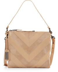 Badgley Mischka Remy Snake Embossed Leather Crossbody Bag Latte