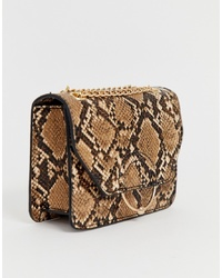 ASOS DESIGN Ring And Ball Cross Body Bag With Chain In Snake