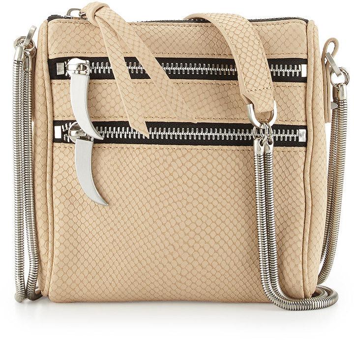 Romy Gold Snake Embossed Leather Crossbody Bag
