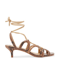 Zimmermann Cutout Snake Effect Leather Sandals