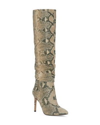 Tan Snake Leather Knee High Boots