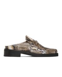 Martine Rose Brown Snake Slip On Loafers