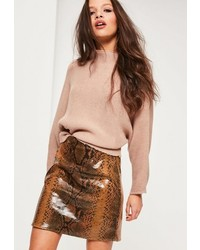 Missguided Brown Faux Leather Snake Effect Mini Skirt