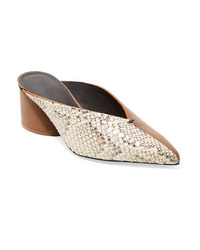 Mercedes Castillo Ed Snake Effect And Smooth Leather Mules