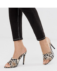 Missguided Peep Toe Mule In Snake Print