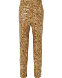 Hillier Bartley Snake Effect Faux Leather Straight Leg Pants