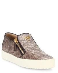 Giuseppe Zanotti Snakeskin Embossed Leather Slip On Sneakers