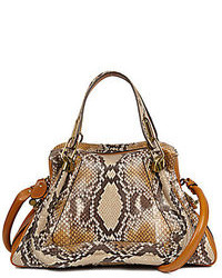 Tan Snake Leather Tote Bag