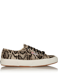 Tan Snake Low Top Sneakers