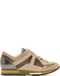 Lanvin Brown Python Panel Sneakers