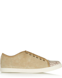 Lanvin Snake Print Leather And Suede Sneakers