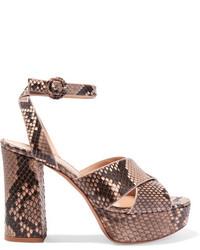 Gianvito Rossi Python Platform Sandals Beige