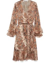 Diane von Furstenberg Carli Ruffled Snake Print Silk Jersey And Tte Wrap Dress