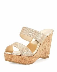 Jimmy Choo Parker Snake Print 100mm Wedge Slide Sandal Dor