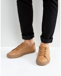 Asos Lace Up Sneakers In Tan