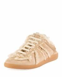 Maison Margiela Sheepskin Fur Sneaker Style Mule Beige
