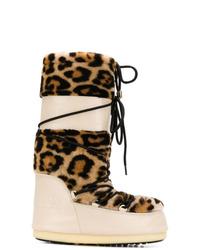 Yves Salomon Leopard Print Moon Boots