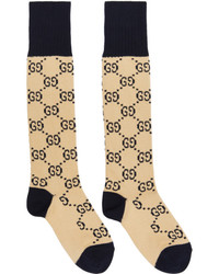 Gucci Beige And Navy Gg Socks
