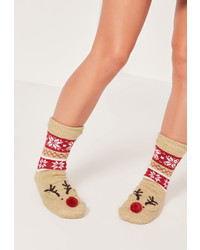 Missguided Reindeer Slipper Socks Brown