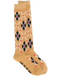 MSGM Plaid Embroidered Socks