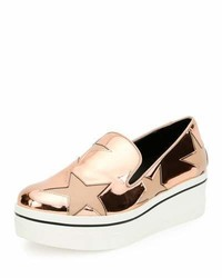 Stella McCartney Binx Metallic Star Slip On Sneakers Copper Tea Rose