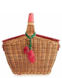 Tan Straw Bucket Bag