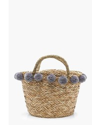Boohoo Kerry Medium Pom Pom Basket Bag