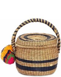 Lola Woven Straw Basket W Pompom