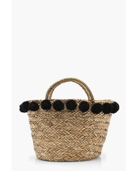Boohoo Olivia Large Pom Pom Basket Bag