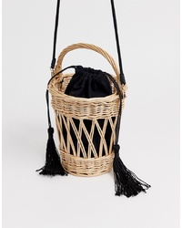 Mango Wooden Basket Bag With Detachable In