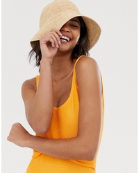 Tan Straw Bucket Hat