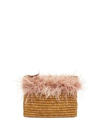 Loeffler Randall Feather Trim Straw Clutch