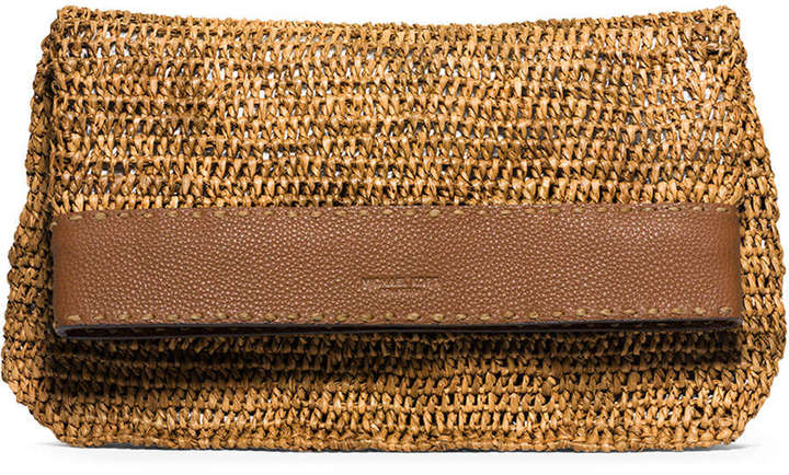f2bf959d535921 ... Michael Kors Michl Kors Santorini Medium Raffia Clutch Bag Luggage ...