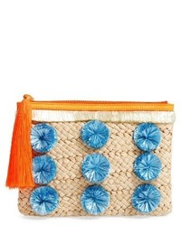 Pompom straw clutch brown medium 3683756