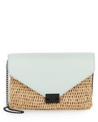 Loeffler Randall Raffia Leather Lock Clutch