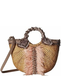 Sam Edelman Idina Feather Straw Tote Tote Handbags