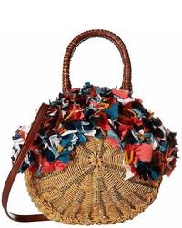 Sam Edelman Kiran Round Straw Tote W Raw Fabric Detail Tote Handbags