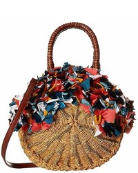 Sam Edelman Kiran Round Straw Tote W Raw Fabric Detail Tote Handbags
