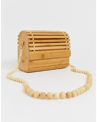 New Look Slatted Wooden Bag In Stone