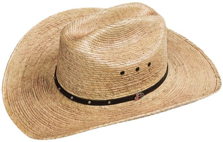 ... Justin Ambush Cowboy Hat Palm Straw Cattleman Crown ... e53f5c9e3bb