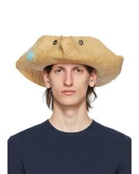 Lanvin Beige Straw Hand Painted Panama Hat