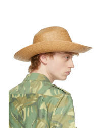 Saint Laurent Beige Straw Maui Hat