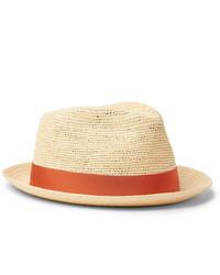 Borsalino Small Brimmed Grosgrain Trimmed Straw Panama Hat