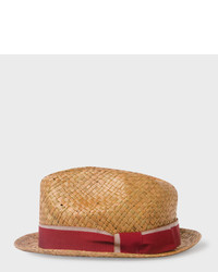 Paul Smith Tan Straw Trilby Hat